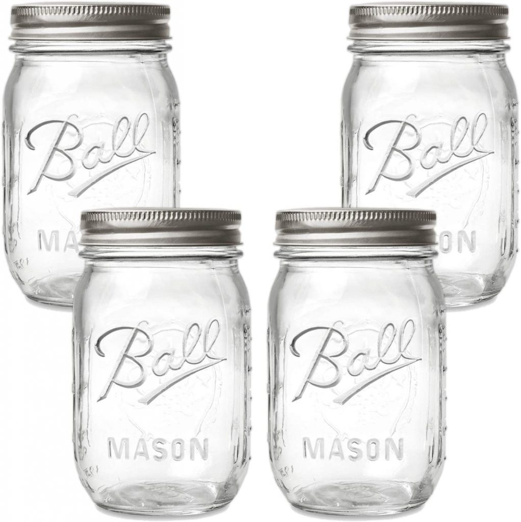 Clear mason jars with metal lids