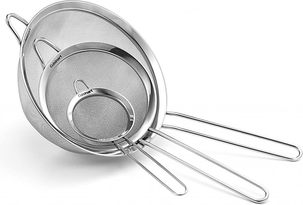 Stainless steel mesh strainers with handles in 3 different sizes
