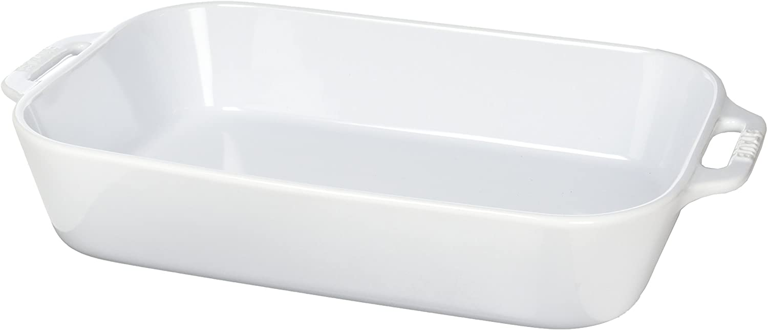 Large white Staub baking dish with handles