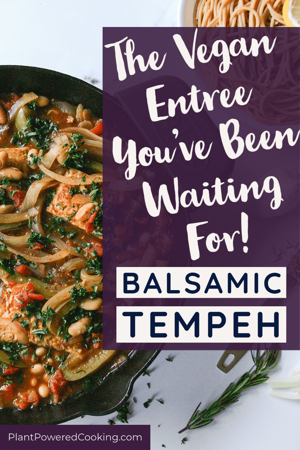 Large skillet full of balsamic tempeh recipe topped with fresh herbs