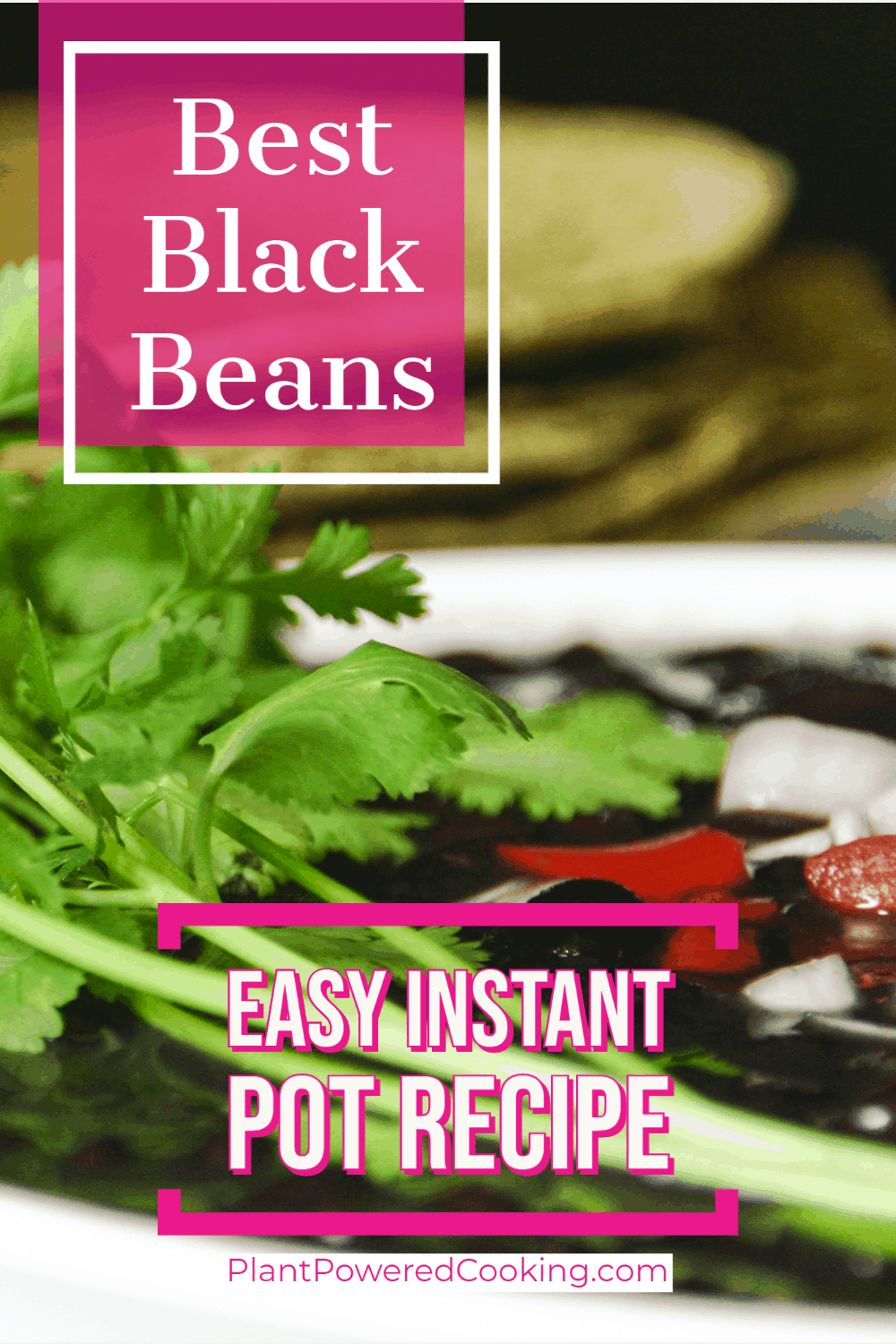 """Close-up side view of best black beans in a bowl and text overlay that reads """"easy instant pot recipe"""""""