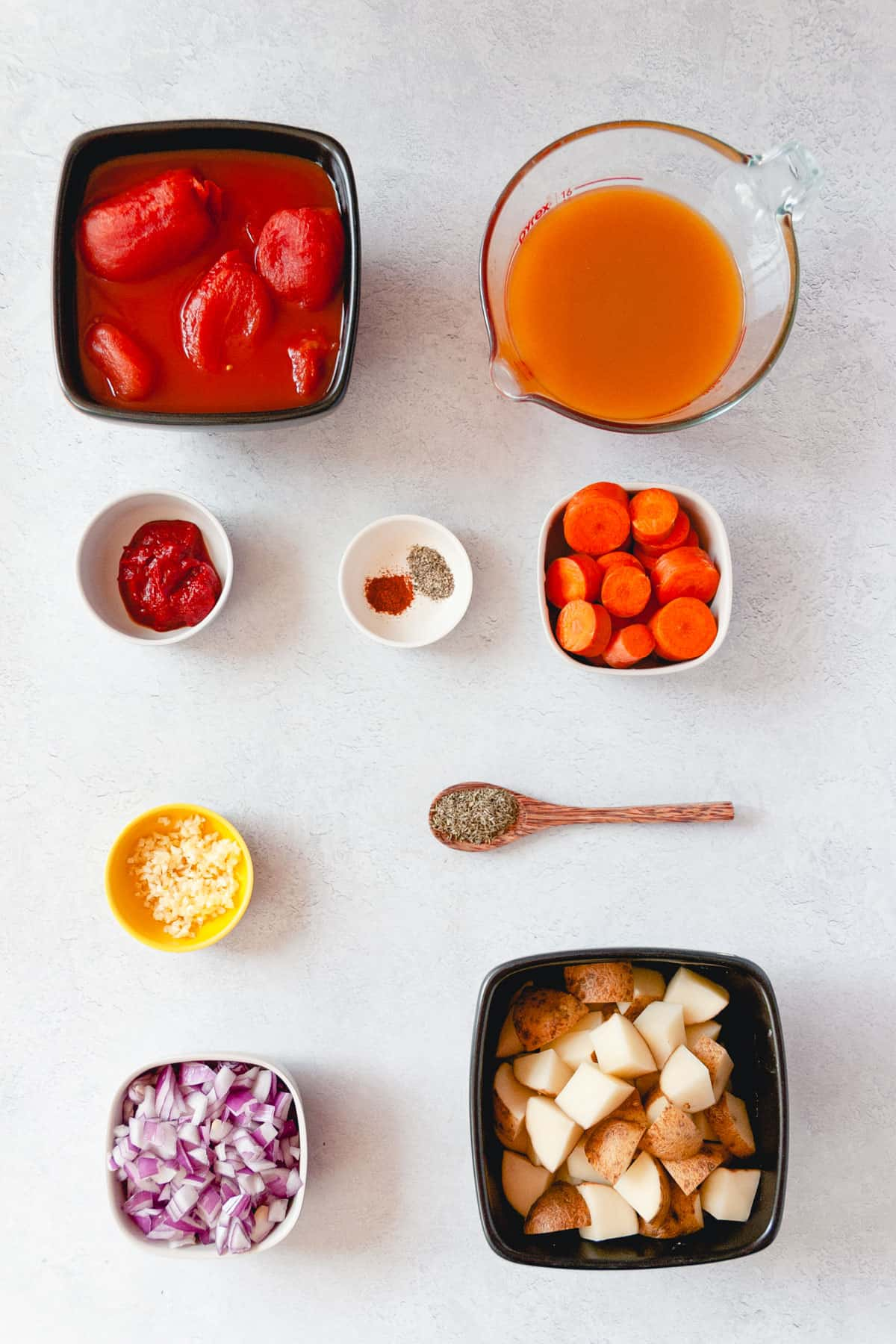 All the ingredients needed to make this recipe arranged in small bowls