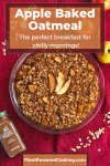 """Full dish of apple baked oatmeal with text overlay that reads """"Apple Baked Oatmeal - the perfect breakfast for chilly mornings!"""""""