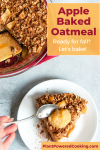 """Picture of slice of oatmeal with text overlay that reads """"Apple baked oatmeal - Ready for fall? Let's bake!"""""""
