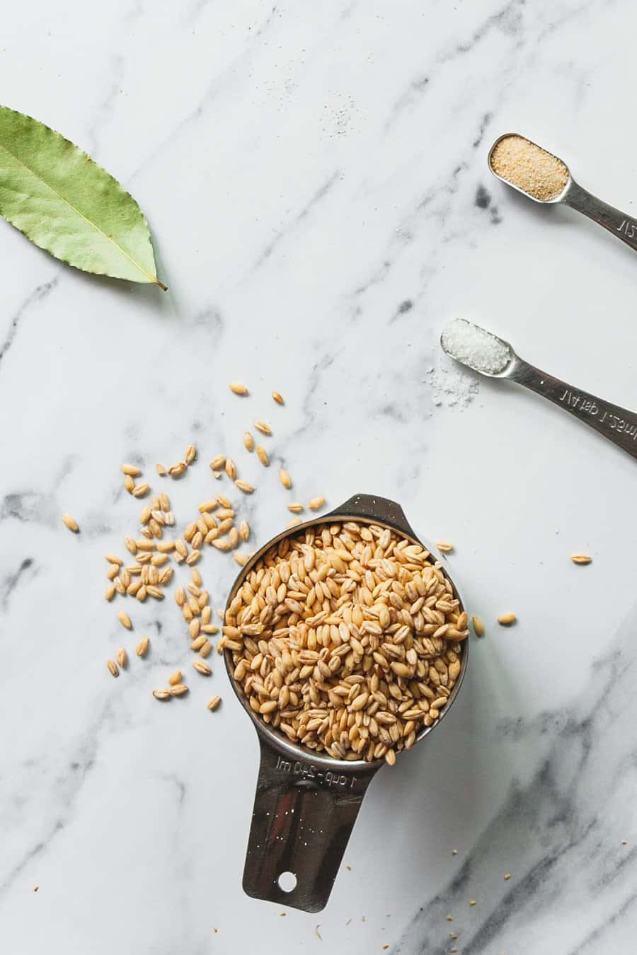 Ingredients needed to make Instant Pot Barley laid out on a counter