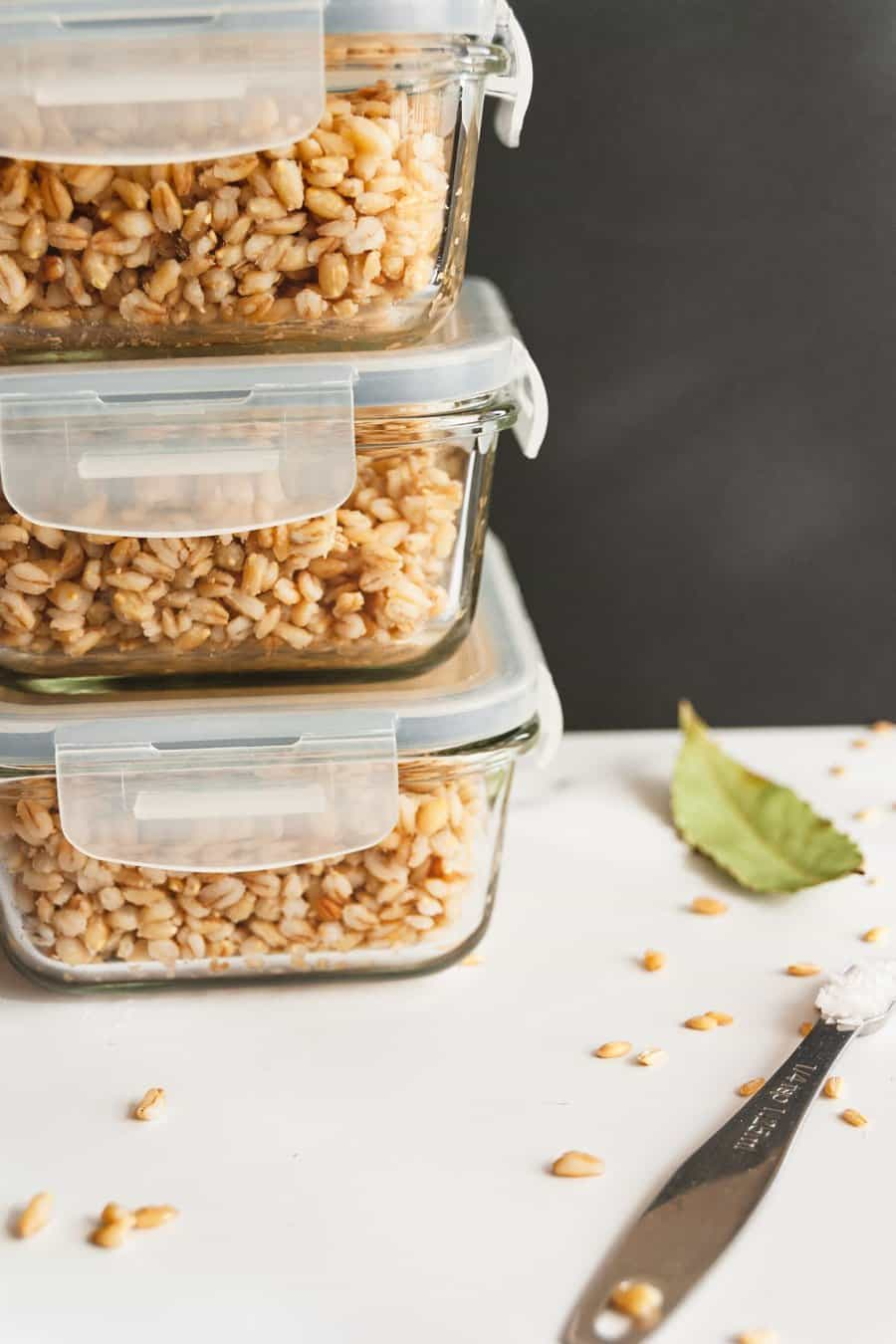 Instant Pot Barley packed into 3 meal prep containers and stacked